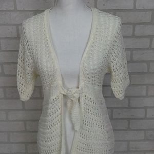 Pursuits Limited Open Knit Cardigan White MD SS